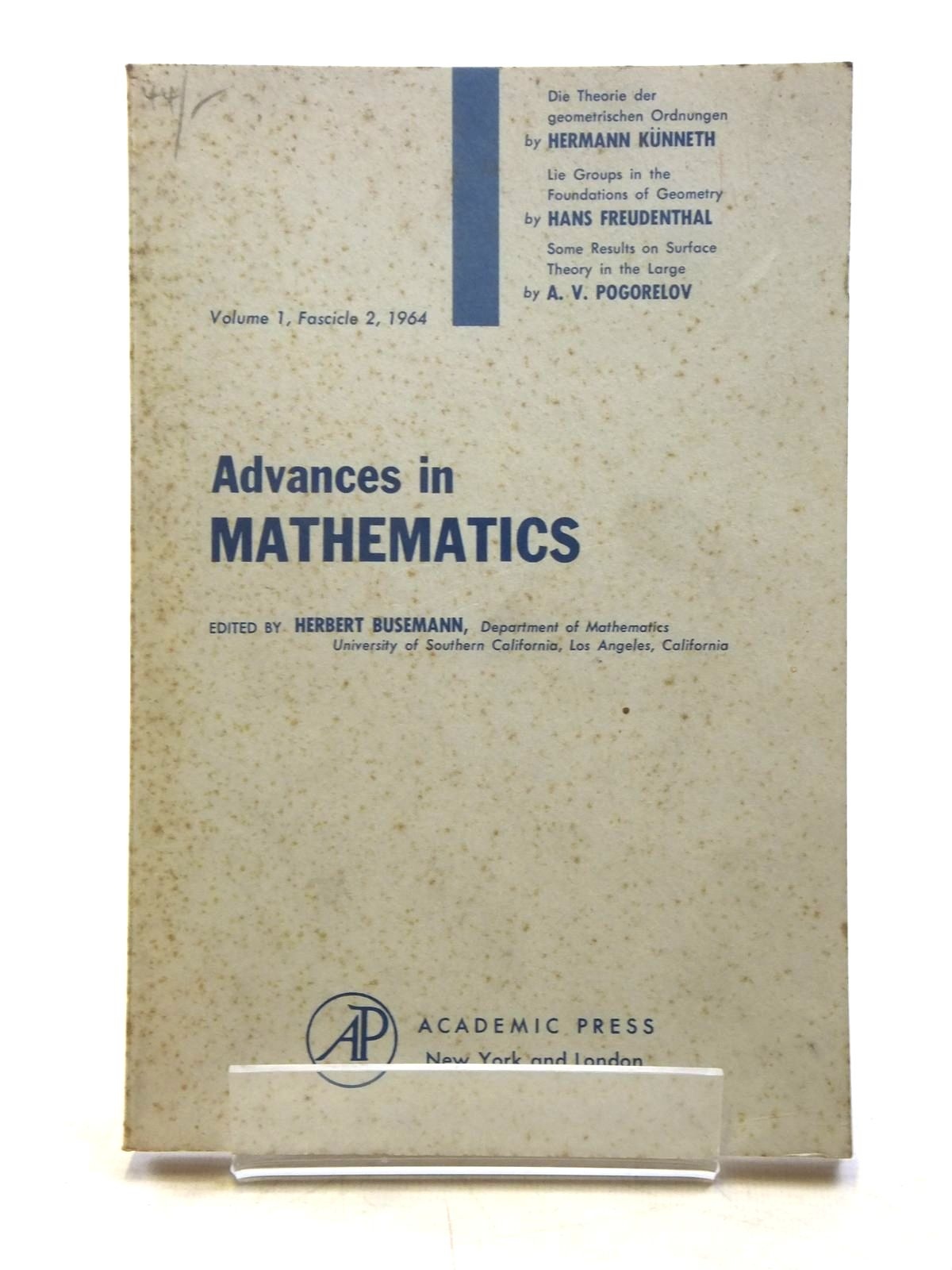 Photo of ADVANCES IN MATHEMATICS VOL. 1, FACICLE 2, 1964 written by Busemann, Herbert published by Academic Press (STOCK CODE: 1607730)  for sale by Stella & Rose's Books