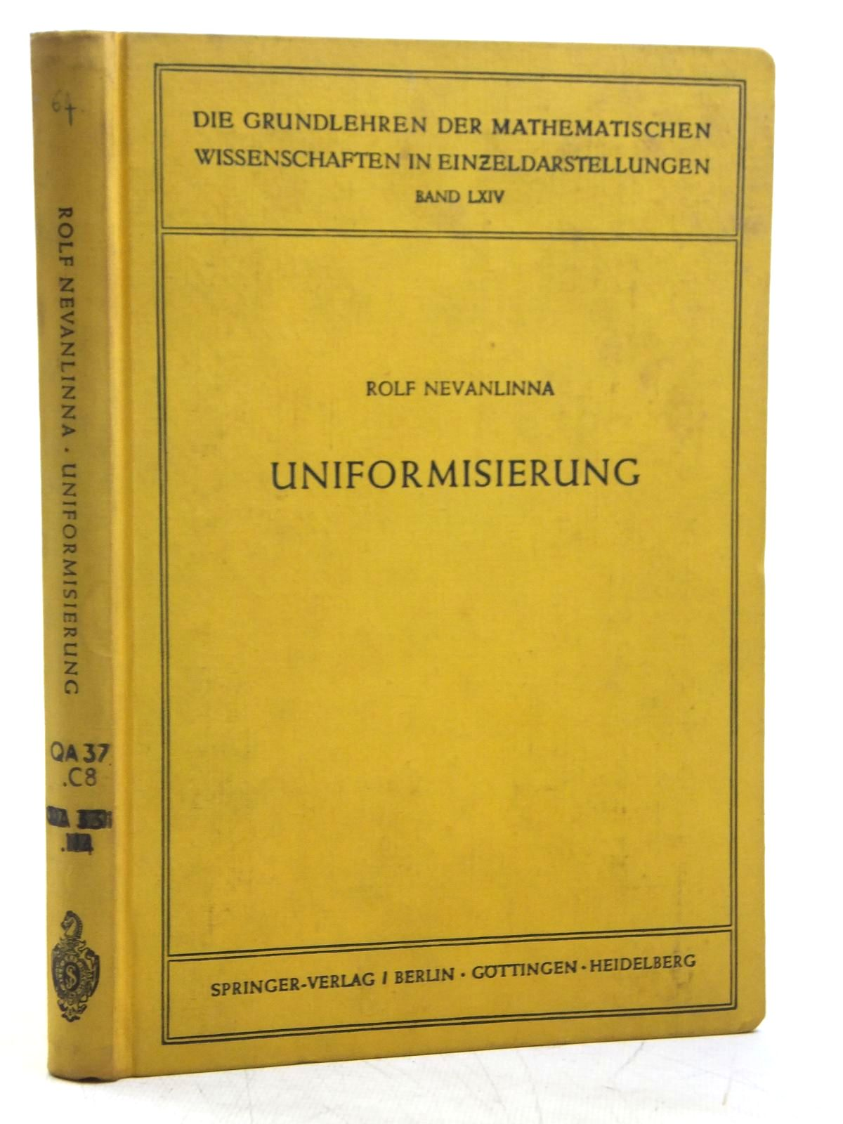 Photo of UNIFORMISIERUNG written by Nevanlinna, Rolf published by Springer-Verlag (STOCK CODE: 1607784)  for sale by Stella & Rose's Books
