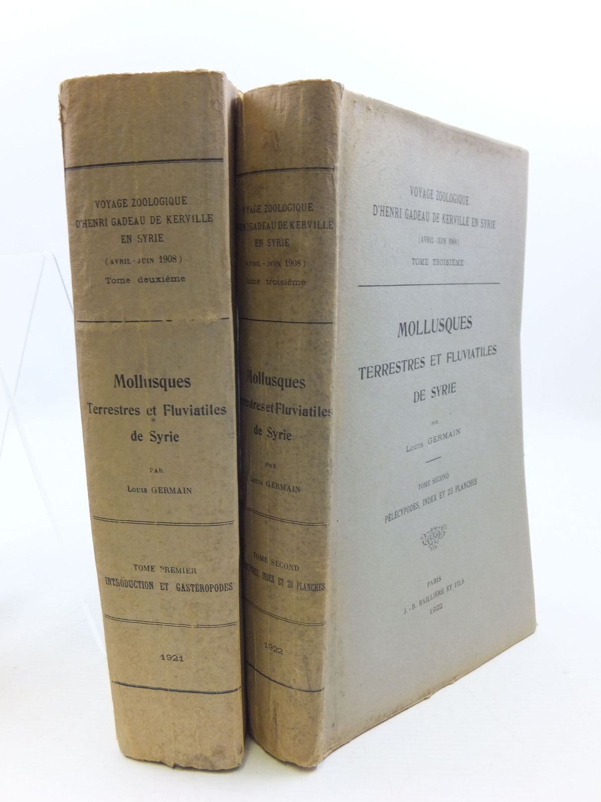 Photo of MOLLUSQUES TERRESTRES ET FLUVIATILES DE SYRIE (2 VOLUMES) written by German, Louis published by J. - B. Balliere Et Fils (STOCK CODE: 1708157)  for sale by Stella & Rose's Books