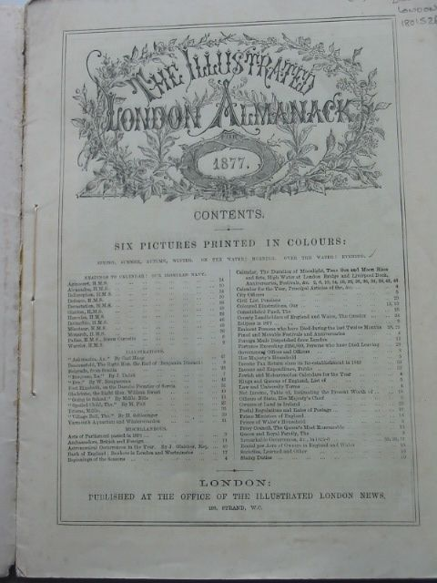 Photo of THE ILLUSTRATED LONDON ALMANACK 1877 published by Illustrated London News (STOCK CODE: 1801526)  for sale by Stella & Rose's Books