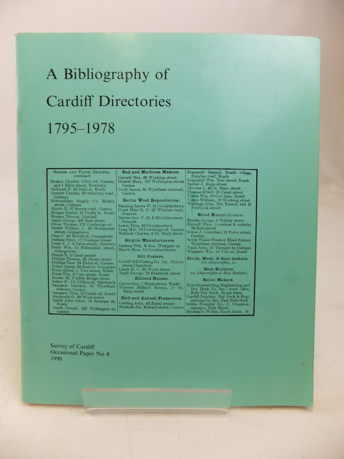 Photo of A BIBLIOGRAPHY OF CARDIFF DIRECTORIES 1795-1978- Stock Number: 1810137
