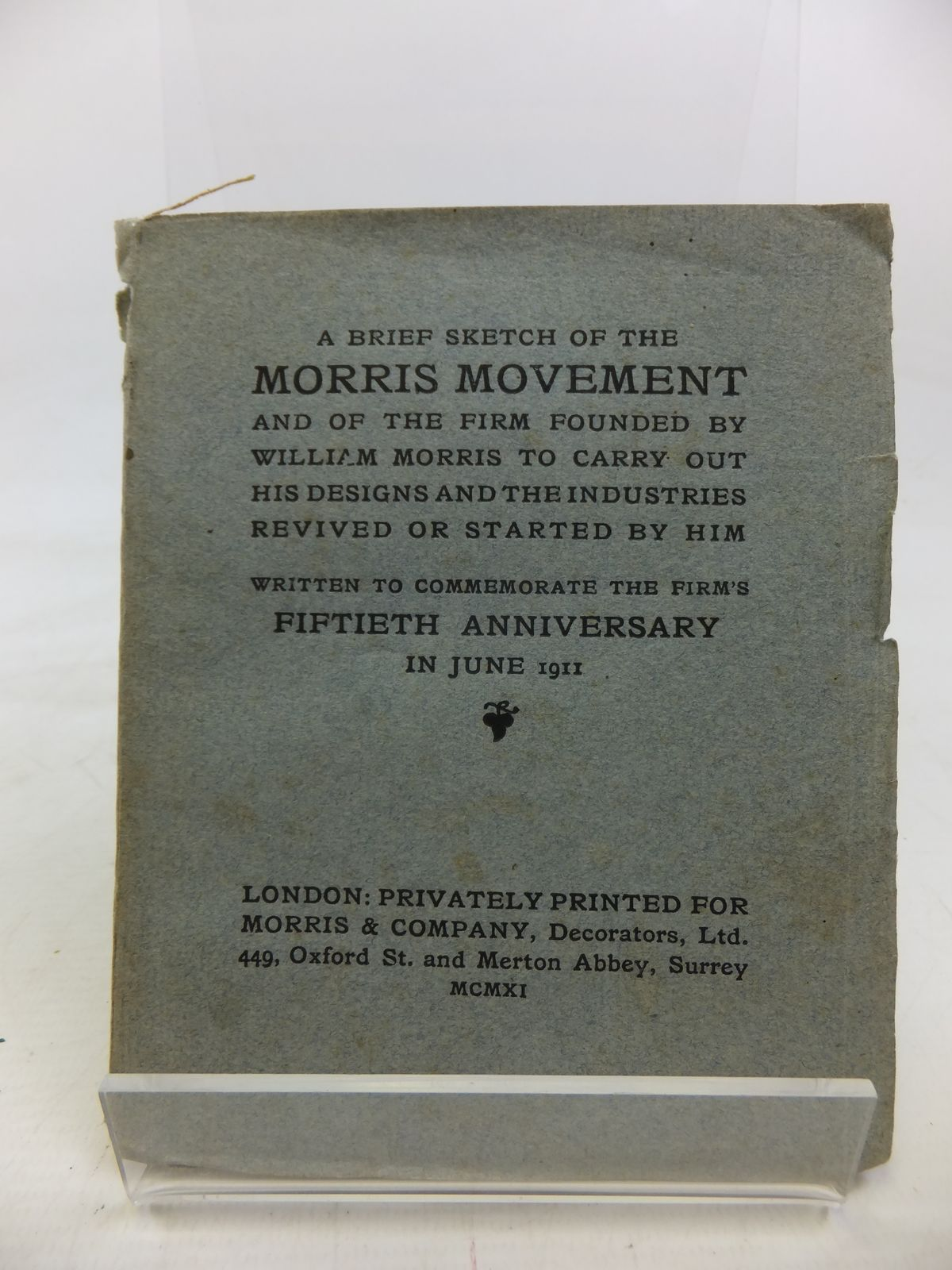 Photo of A BRIEF SKETCH OF THE MORRIS MOVEMENT published by Morris & Company (STOCK CODE: 1810361)  for sale by Stella & Rose's Books