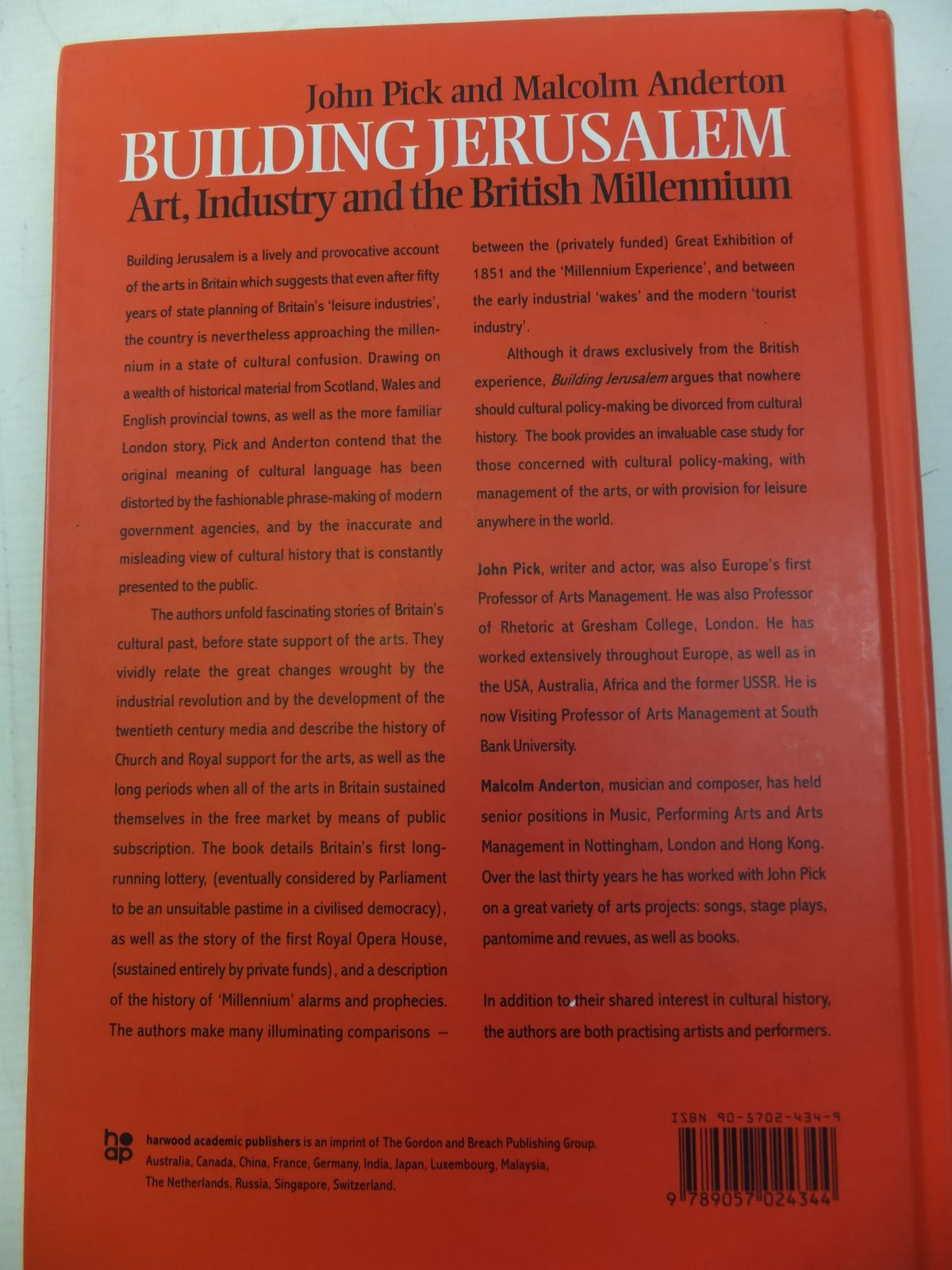 Photo of BUILDING JERUSALEM ART, INDUSTRY AND THE BRITISH MILLENIUM written by Pick, John Anderton, Malcolm published by Harwood Academic Publishers (STOCK CODE: 1810493)  for sale by Stella & Rose's Books
