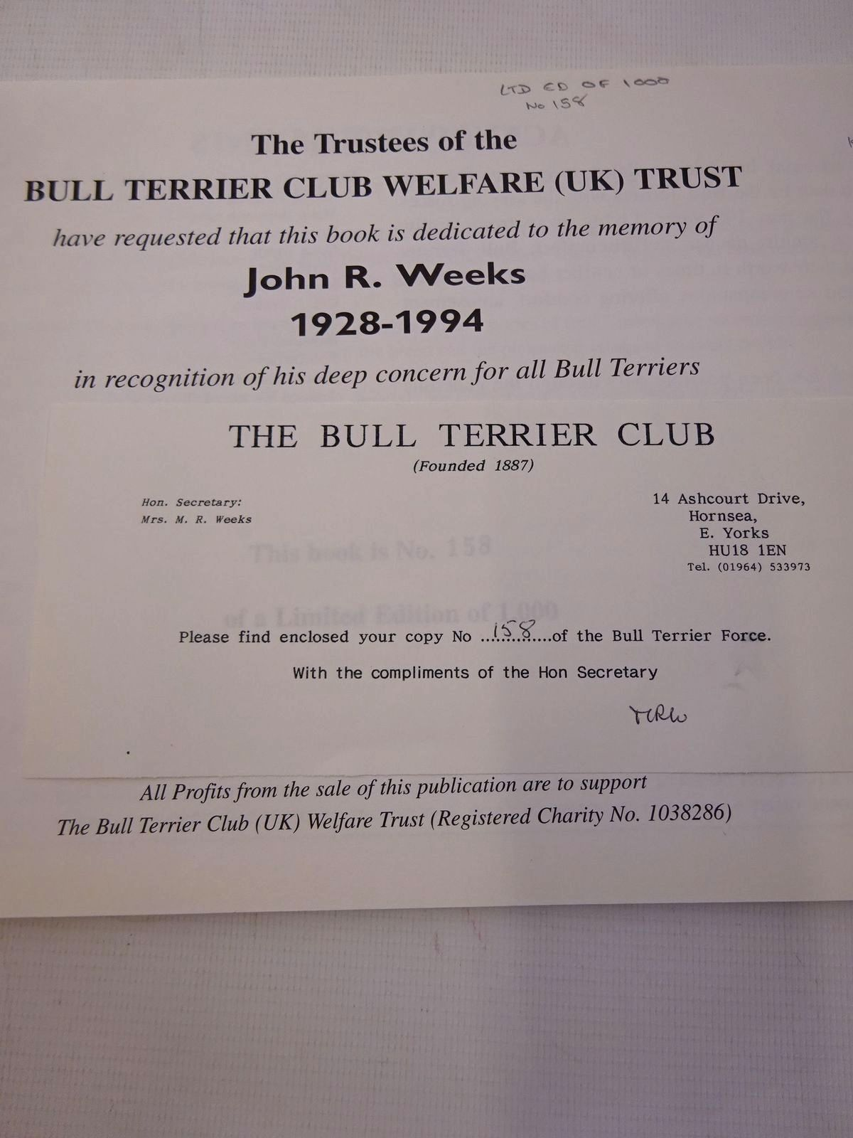 Photo of THE BULL TERRIER FORCE: A COLLECTION TO RECORD AND REMEMBER THE 50TH ANNIVERSARY OF THE ENDING OF WAR TIME HOSTILITIES written by Jarrett, George Kipling, Rudyard Kenway, Brian Harris, David et al, illustrated by Aldin, Cecil Fraser, Peter et al., published by The Bull Terrier Club (STOCK CODE: 1816780)  for sale by Stella & Rose's Books