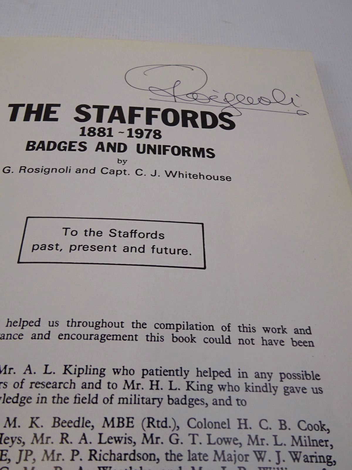Photo of THE STAFFORDS 1881 - 1978 BADGES AND UNIFORMS written by Rosignoli, Guido Whitehouse, C.J. published by Rosignoli (STOCK CODE: 1817166)  for sale by Stella & Rose's Books