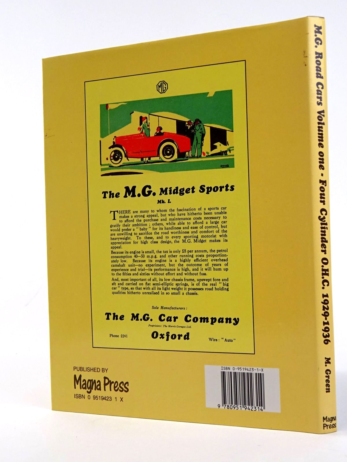 Photo of M.G. ROAD CARS VOLUME ONE - FOUR CYLINDER O.H.C. 1929-1936 written by Green, Malcolm et al,  published by Magna Press (STOCK CODE: 1818257)  for sale by Stella & Rose's Books