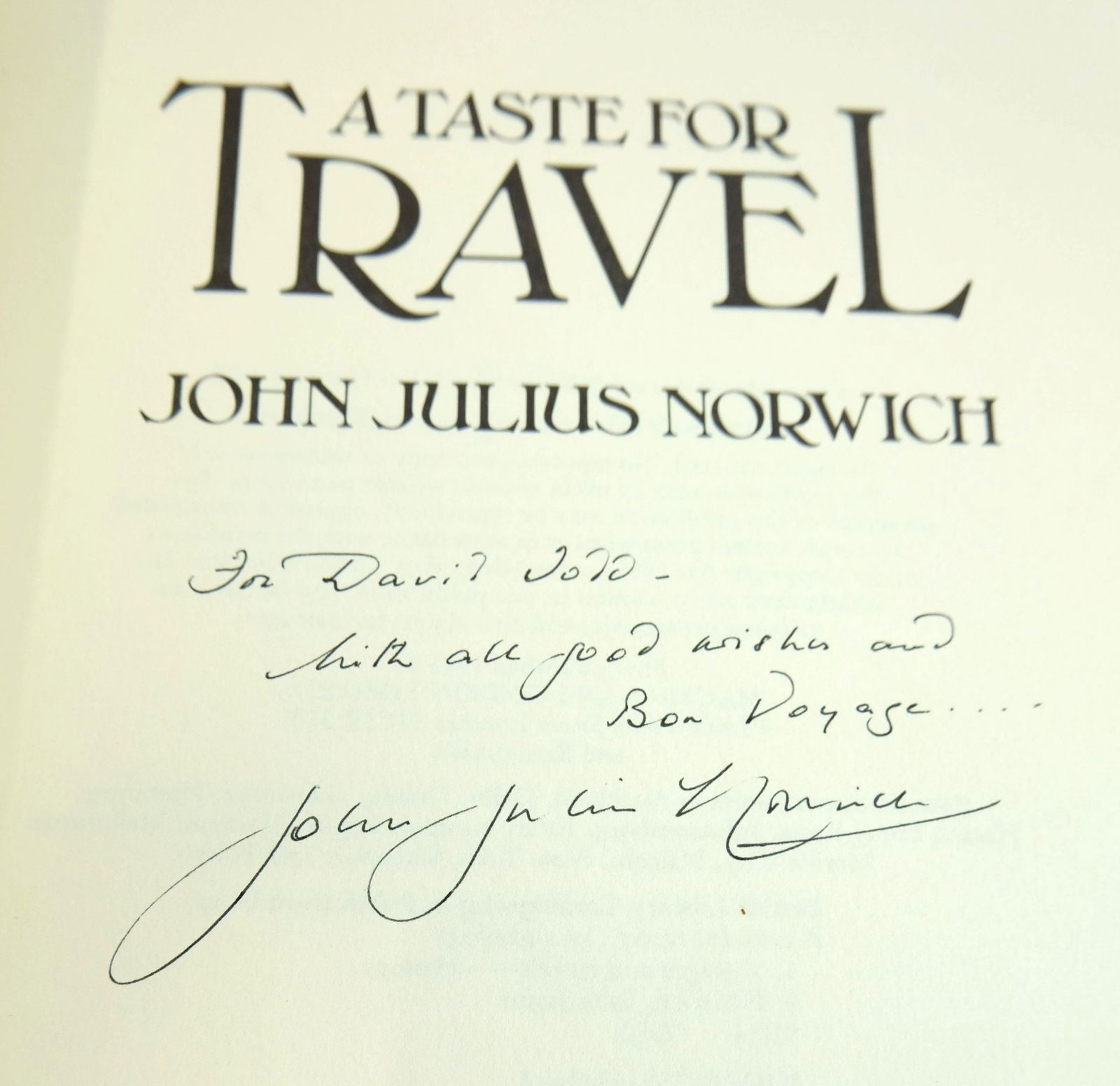 Photo of A TASTE FOR TRAVEL written by Norwich, John Julius published by MacMillan (STOCK CODE: 1819058)  for sale by Stella & Rose's Books