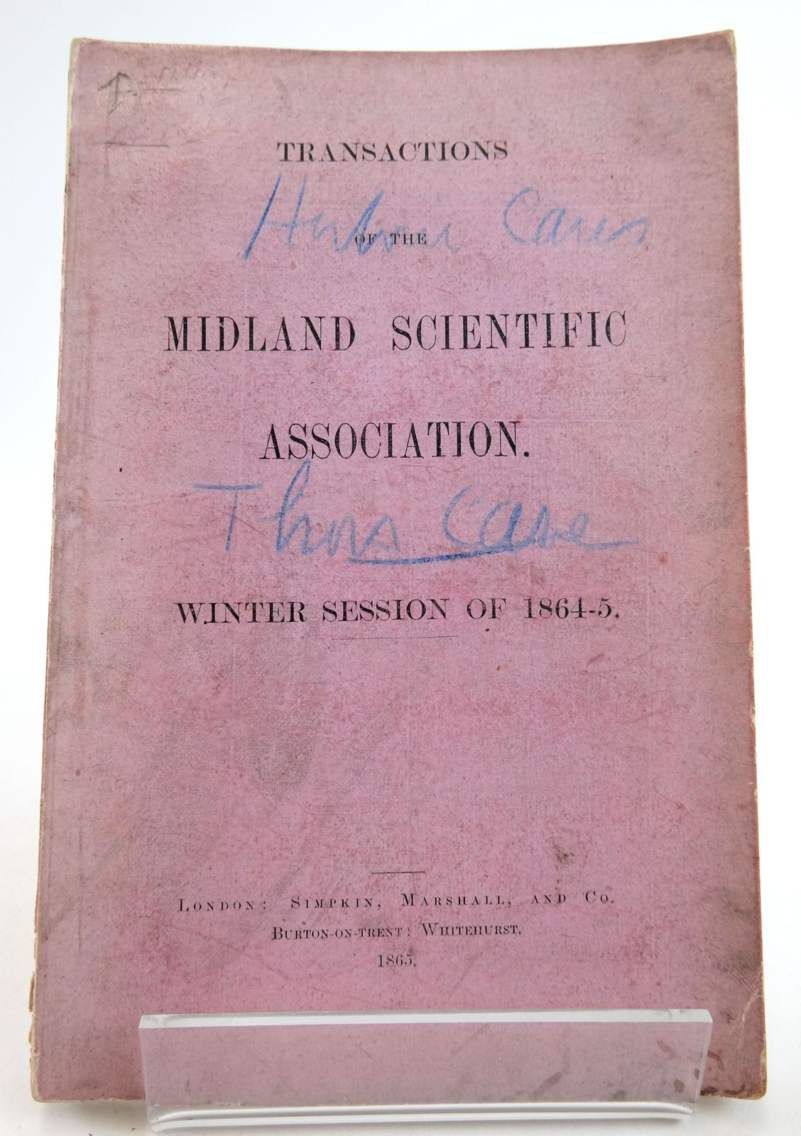 Photo of TRANSACTIONS OF THE MIDLAND SCIENTIFIC ASSOCIATION WINTER SESSION OF 1864-5- Stock Number: 1819468