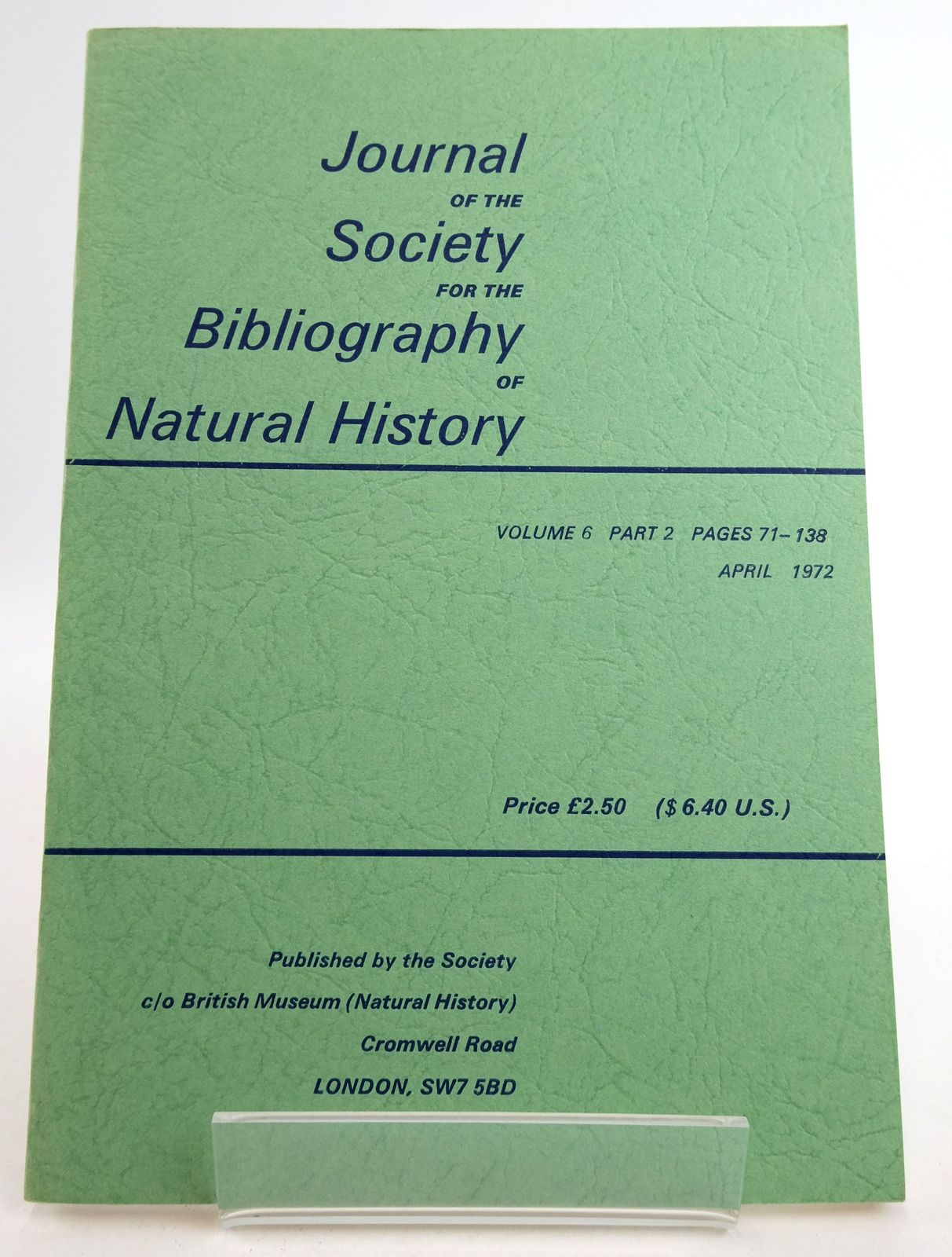 Photo of JOURNAL OF THE SOCIETY FOR THE BIBLIOGRAPHY OF NATURAL HISTORY VOLUME 6 PART 2 published by Society For The Bibliography Of Natural History (STOCK CODE: 1819472)  for sale by Stella & Rose's Books