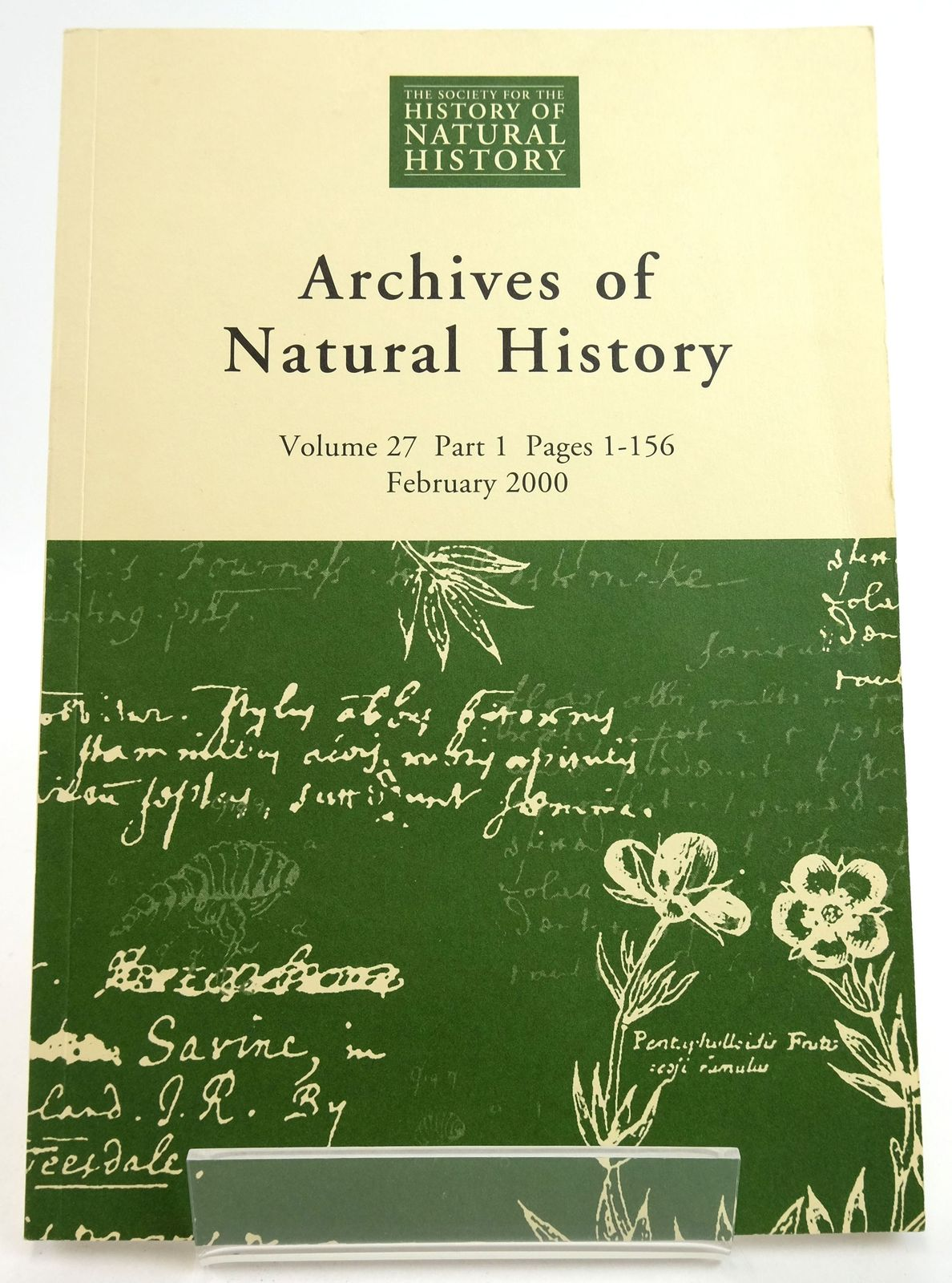 Photo of ARCHIVES OF NATURAL HISTORY VOLUME 27 2000 published by Science History Publications Ltd. (STOCK CODE: 1819476)  for sale by Stella & Rose's Books