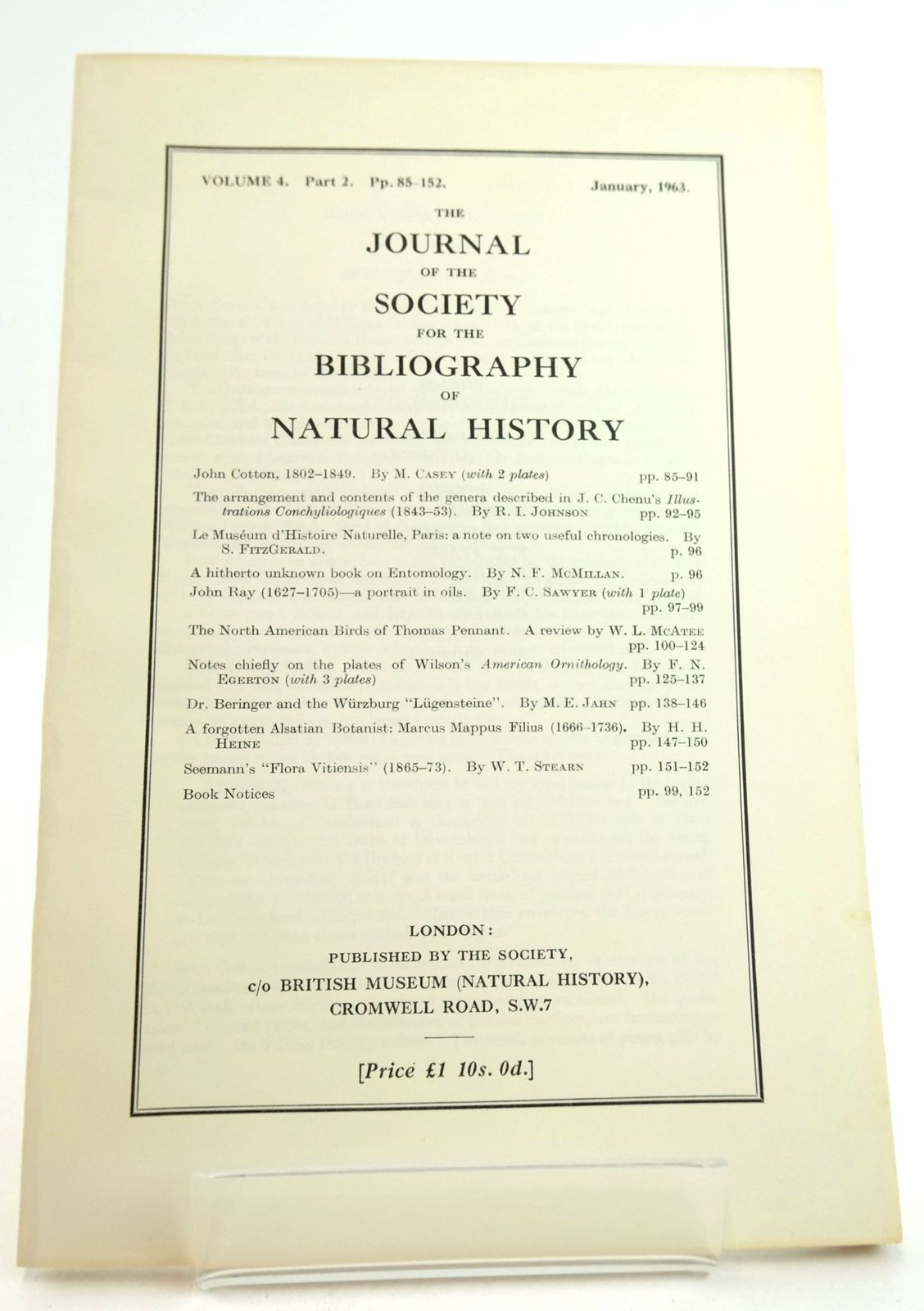Photo of THE JOURNAL OF THE SOCIETY FOR THE BIBLIOGRAPHY OF NATURAL HISTORY VOLUME 4 PART 2 published by Society For The Bibliography Of Natural History (STOCK CODE: 1819479)  for sale by Stella & Rose's Books