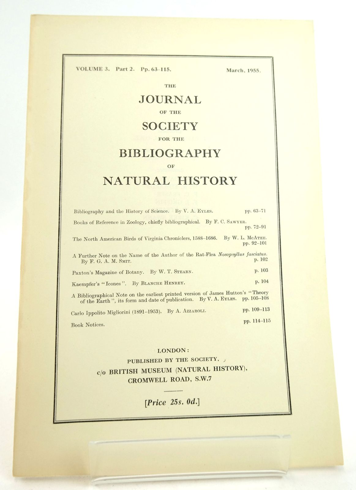 Photo of THE JOURNAL OF THE SOCIETY FOR THE BIBLIOGRAPHY OF NATURAL HISTORY VOLUME 3 PART 2- Stock Number: 1819480