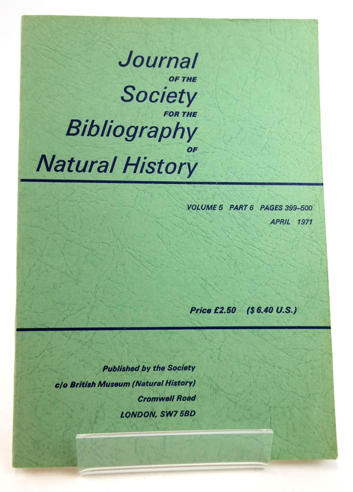 Photo of THE JOURNAL OF THE SOCIETY FOR THE BIBLIOGRAPHY OF NATURAL HISTORY VOLUME 5 PART 6- Stock Number: 1819481