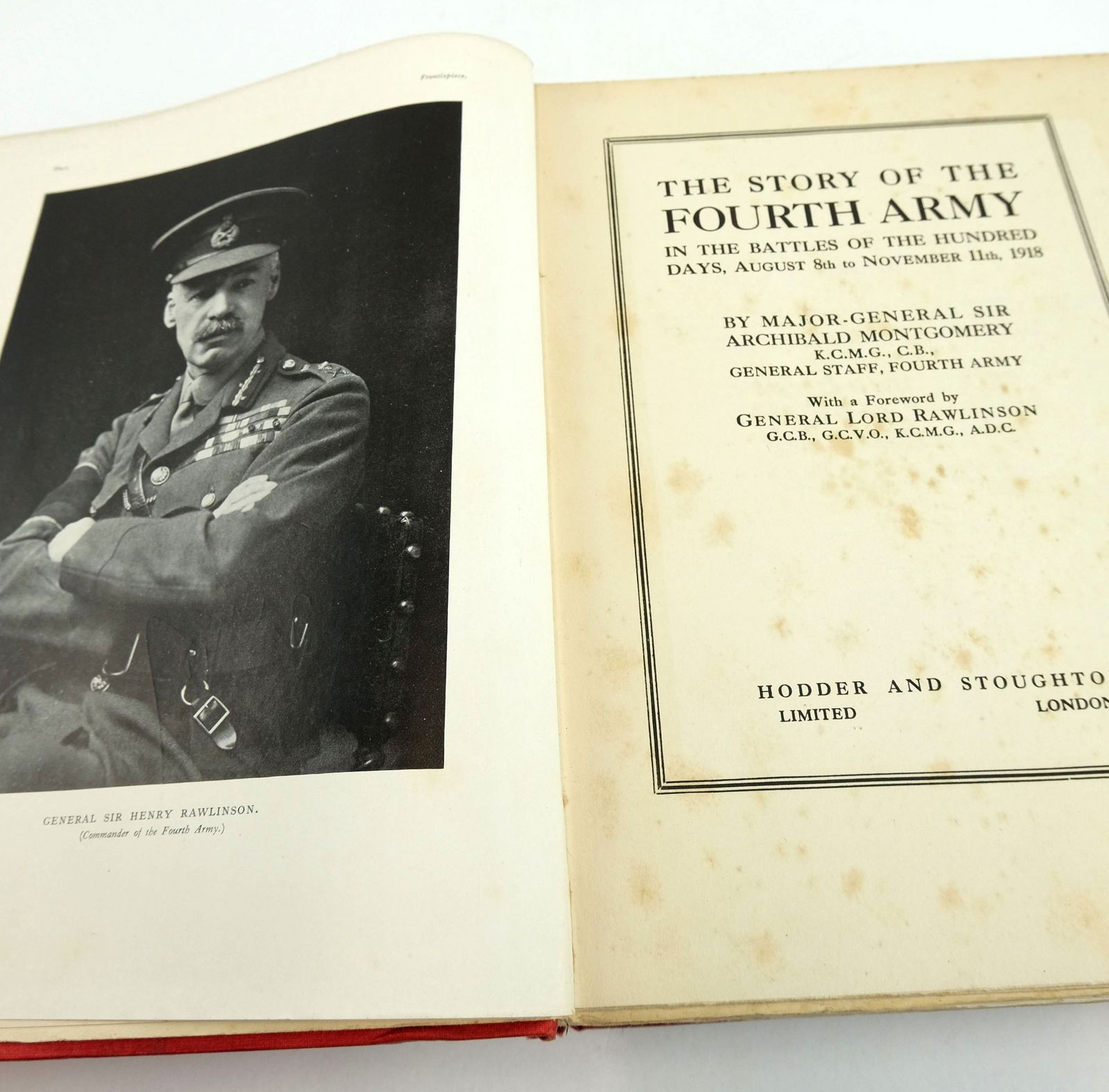 Photo of THE STORY OF THE FOURTH ARMY IN THE BATTLES OF THE HUNDRED DAYS, AUGUST 8TH TO NOVEMBER 11TH 1918 written by Montgomery, Archibald published by Hodder & Stoughton (STOCK CODE: 1819541)  for sale by Stella & Rose's Books