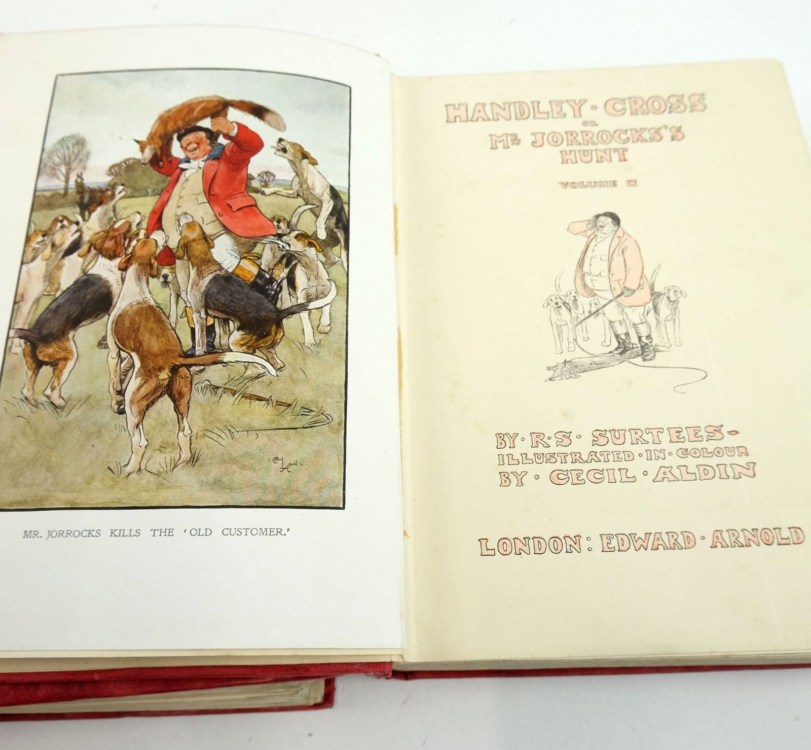Photo of HANDLEY CROSS OR MR JORROCKS'S HUNT (2 VOLUMES) written by Surtees, R.S. illustrated by Aldin, Cecil published by Edward Arnold (STOCK CODE: 1819645)  for sale by Stella & Rose's Books