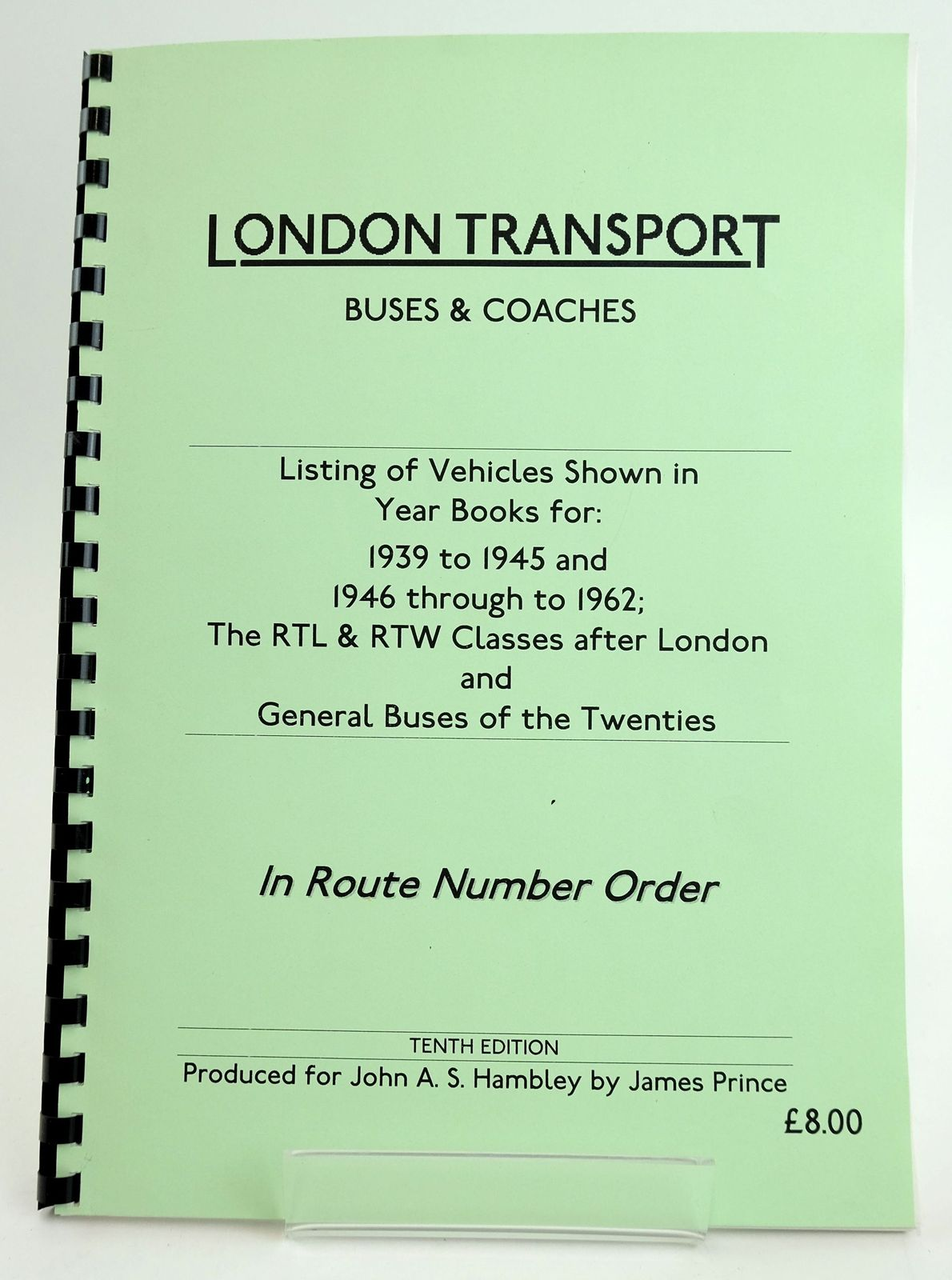 Photo of LONDON TRANSPORT BUSES & COACHES: LISTING OF VEHICLES SHOWN IN YEAR BOOKS FOR 1939 TO 1945 AND 1946 TO 1962- Stock Number: 1820030