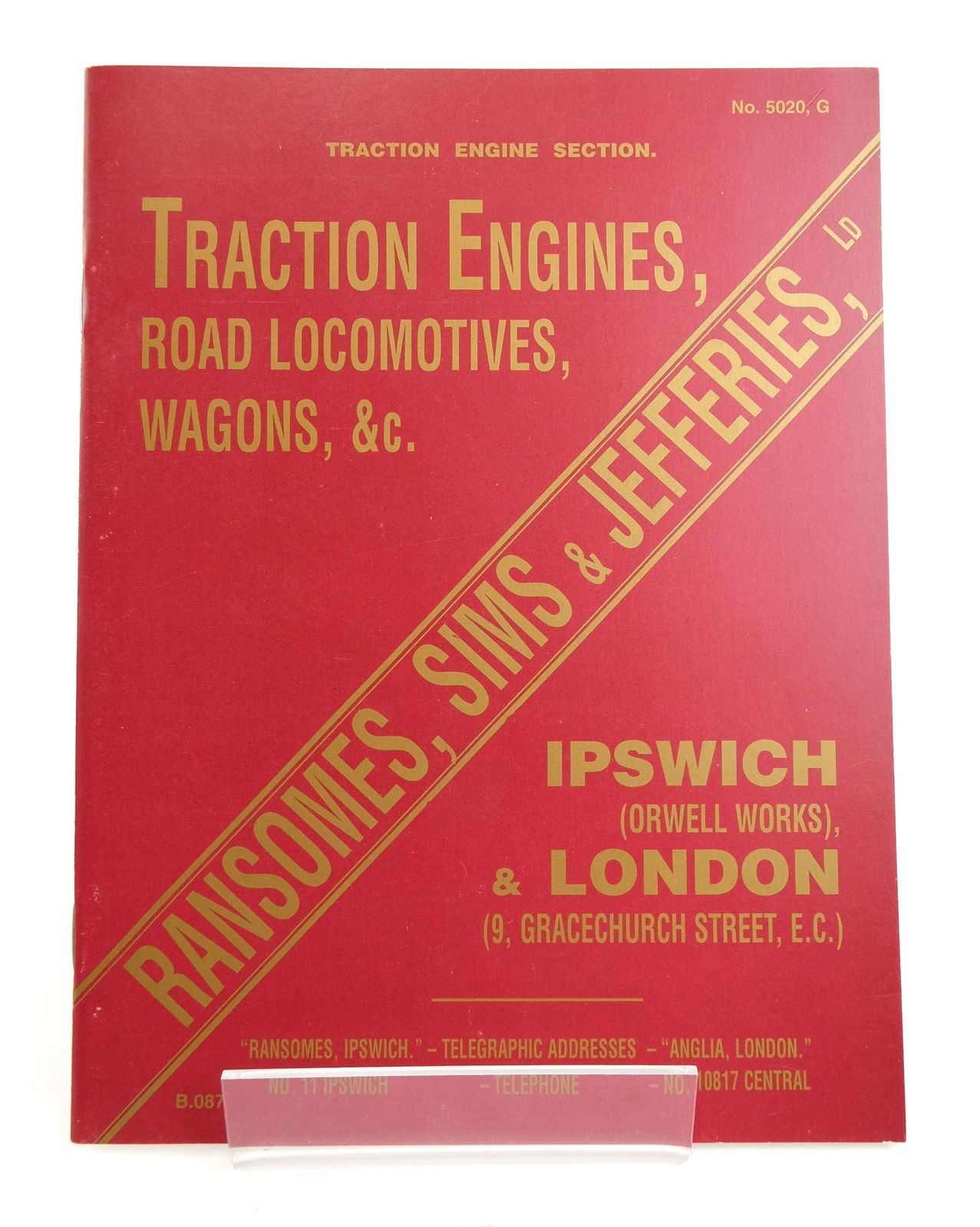 Photo of TRACTION ENGINE SECTION: ILLUSTRATED CATALOGUE OF TRACTION ENGINES, ROAD LOCOMOTIVES, WAGONS, &C.- Stock Number: 1820207