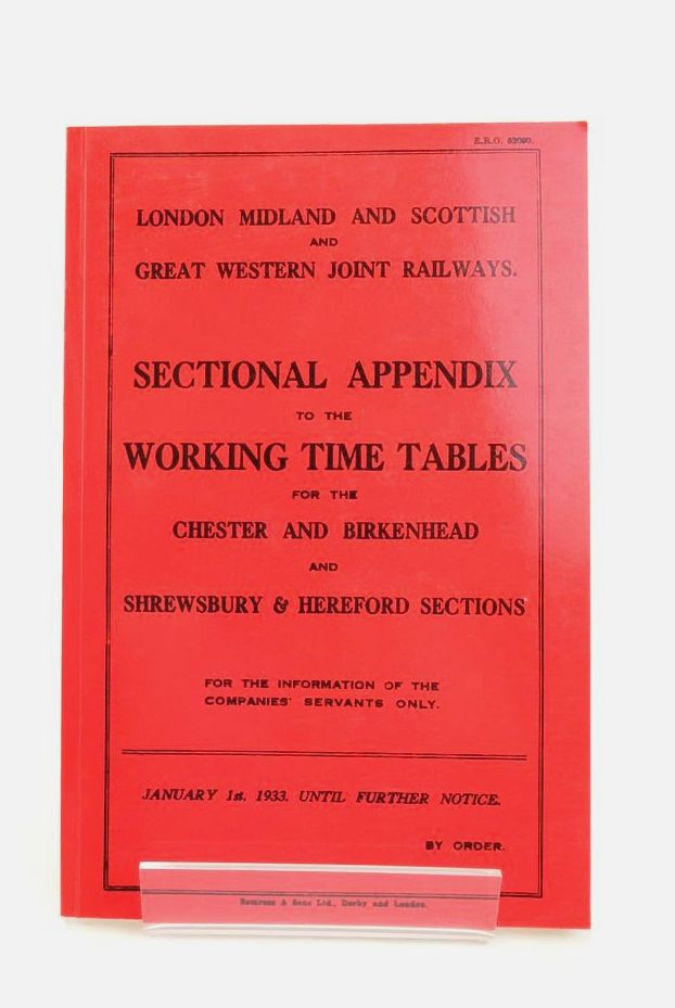 Photo of LONDON MIDLAND AND SCOTTISH AND GREAT WESTERN JOINT RAILWAYS SECTIONAL APPENDIX TO THE WORKING TIME TABLE  FOR THE CHESTER AND BIRKENHEAD AND SHREWSBURY & HEREFORD SECTIONS- Stock Number: 1822197