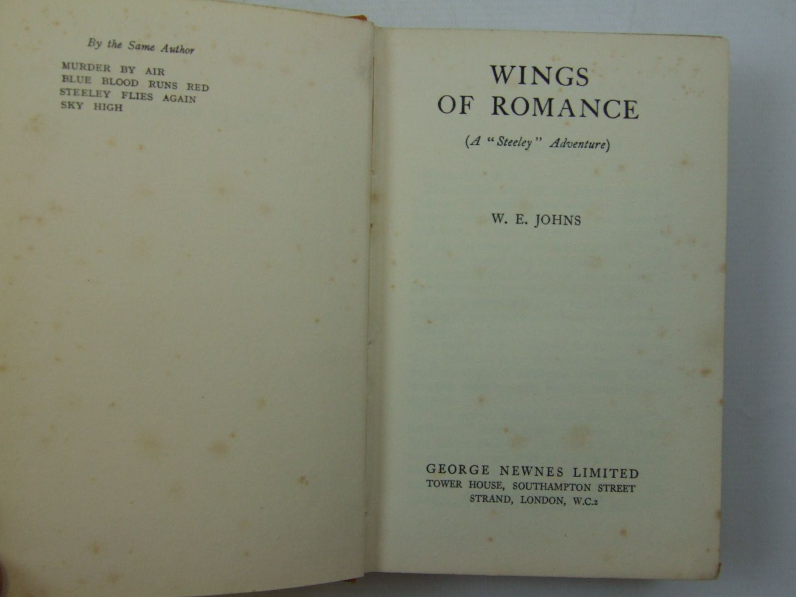 Photo of WINGS OF ROMANCE written by Johns, W.E. published by George Newnes Limited (STOCK CODE: 2109795)  for sale by Stella & Rose's Books