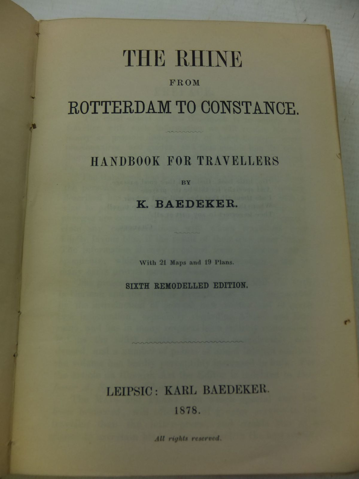 Photo of THE RHINE FROM ROTTERDAM TO CONSTANCE written by Baedeker, Karl published by Karl Baedeker (STOCK CODE: 2114658)  for sale by Stella & Rose's Books