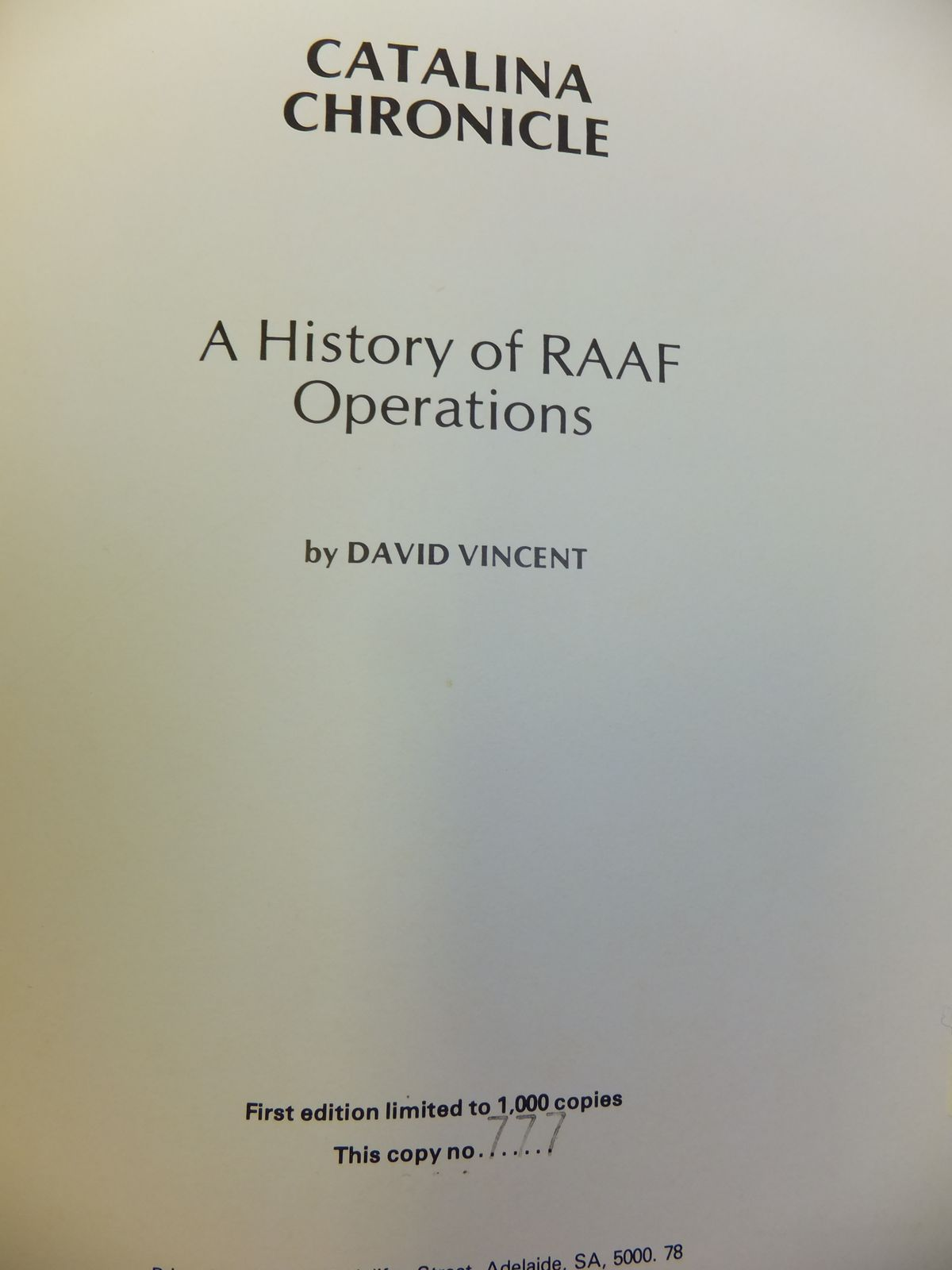 Photo of CATALINA CHRONICLE A HISTORY OF RAAF OPERATIONS written by Vincent, David published by National Library Of Australia (STOCK CODE: 2116077)  for sale by Stella & Rose's Books