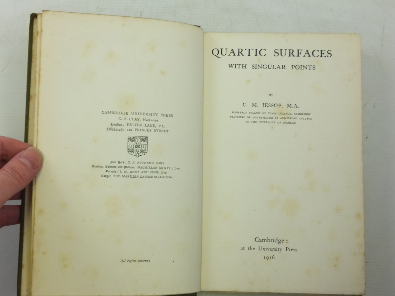 Photo of QUARTIC SURFACES WITH SINGULAR POINTS written by Jessop, C.M. published by Cambridge University Press (STOCK CODE: 2119816)  for sale by Stella & Rose's Books
