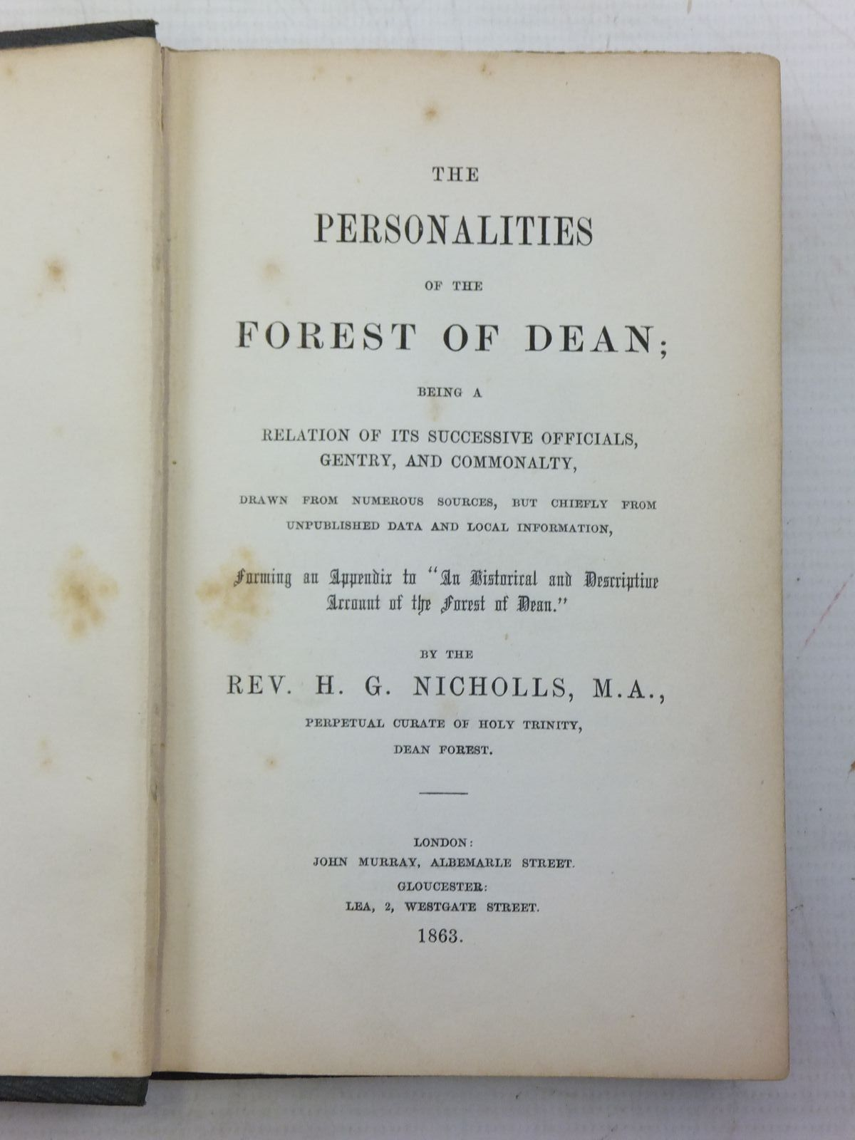Photo of THE PERSONALITIES OF THE FOREST OF DEAN written by Nicholls, H.G. published by John Murray (STOCK CODE: 2119825)  for sale by Stella & Rose's Books