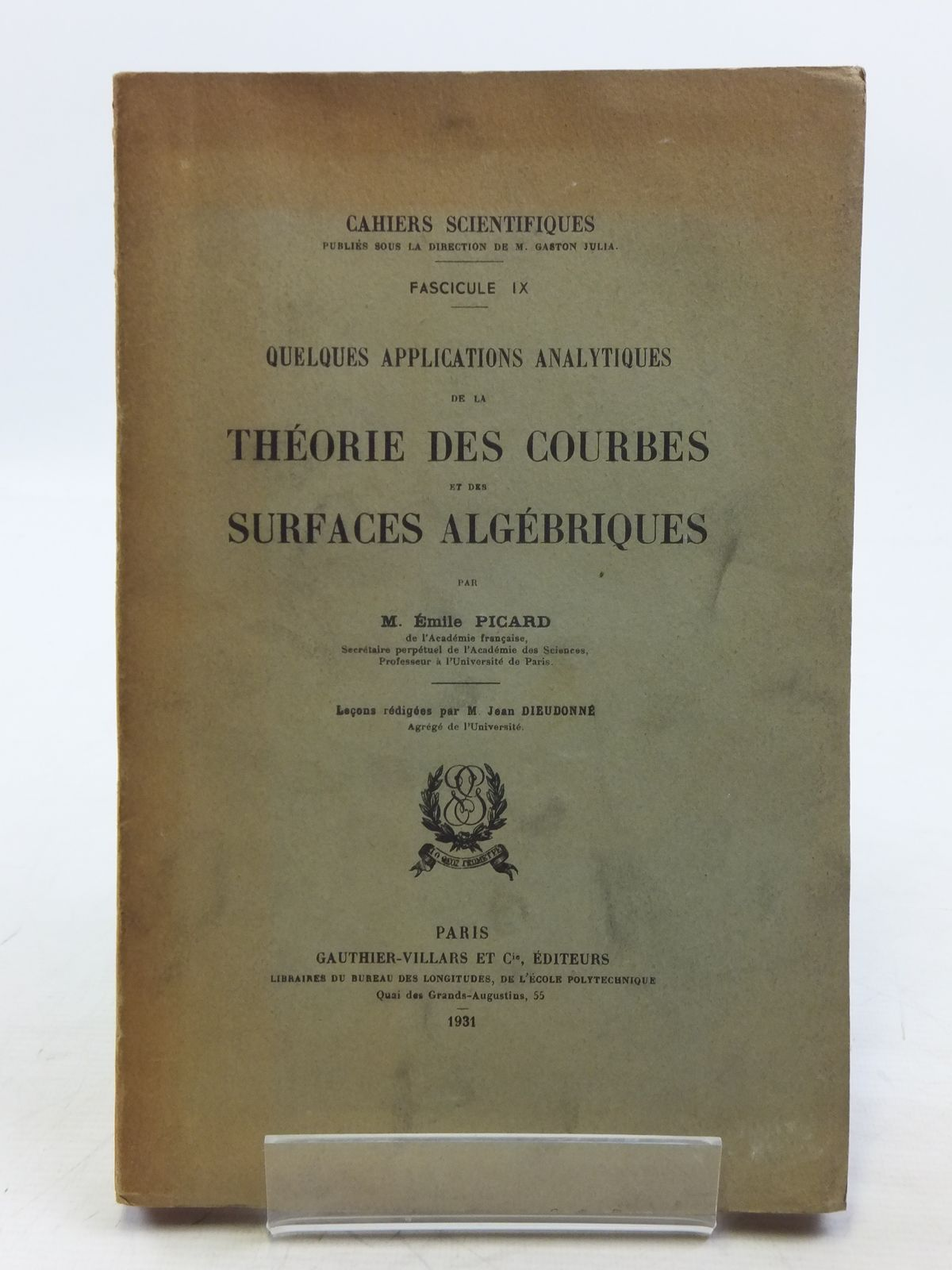 Photo of QUELQUES APPLICATIONS ANALYTIQUES DE LA THEORIE DES COURBES ET DES SURFACES ALGEBRIQUES written by Picard, Emile published by Gauthier-Villars (STOCK CODE: 2119830)  for sale by Stella & Rose's Books