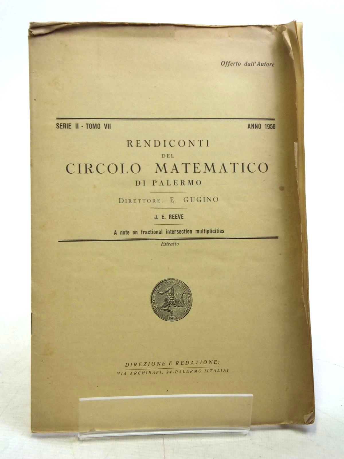 Photo of RENDICONTI DEL CIRCOLO MATEMATICO DI PALERMO written by Reeve, J.E. published by Direzione E. Redazione (STOCK CODE: 2119938)  for sale by Stella & Rose's Books