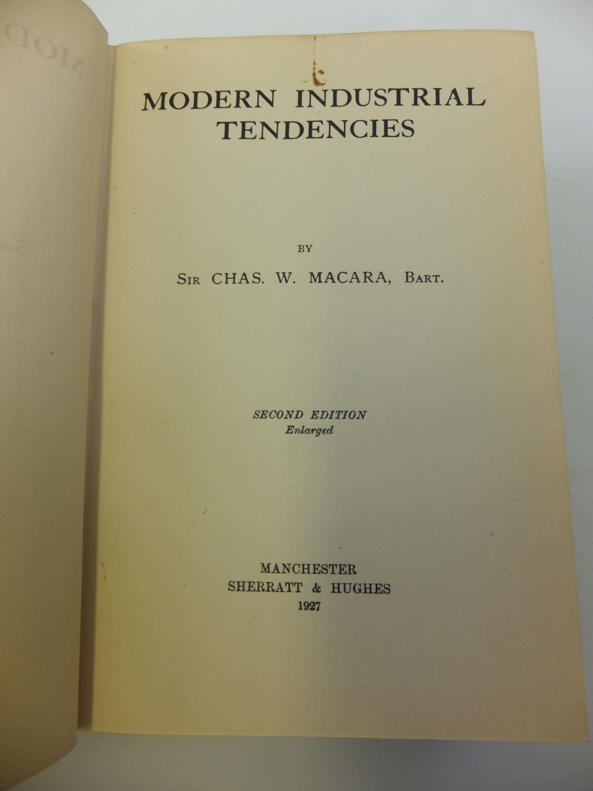 Photo of MODERN INDUSTRIAL TENDENCIES written by Macara, Chas. W. published by Sherratt & Hughes (STOCK CODE: 2120777)  for sale by Stella & Rose's Books
