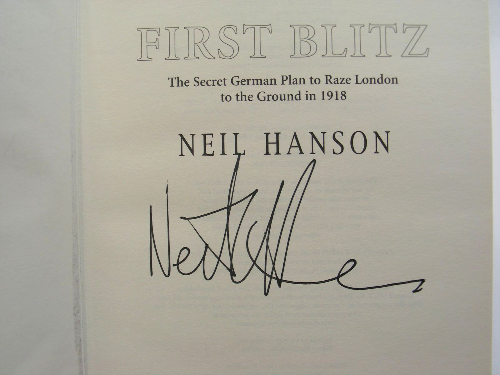 Photo of FIRST BLITZ written by Hanson, Neil published by Doubleday (STOCK CODE: 2124824)  for sale by Stella & Rose's Books