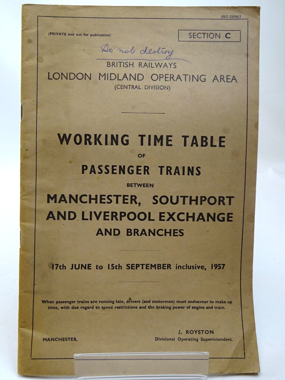 Photo of BRITISH RAILWAYS LONDON MIDLAND OPERATING AREA (CENTRAL DIVISION) WORKING TIME TABLE OF PASSENGER TRAINS BETWEEN MANCHESTER, SOUTHPORT AND LIVERPOOL EXCHANGE AND BRANCHES published by British Rail (Western) (STOCK CODE: 2126804)  for sale by Stella & Rose's Books