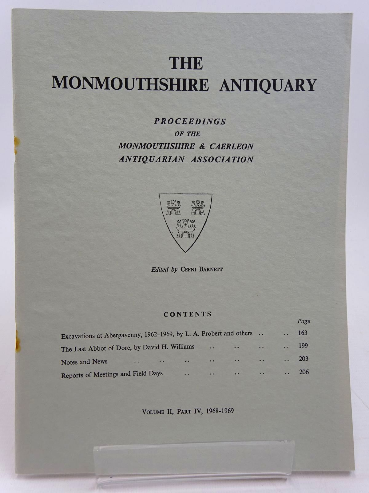 Photo of THE MONMOUTHSHIRE ANTIQUARY VOLUME II, PART IV, 1968-1969 written by Barnett, Cefni published by Monmouthshire & Caerleon Antiquarian Association (STOCK CODE: 2130963)  for sale by Stella & Rose's Books