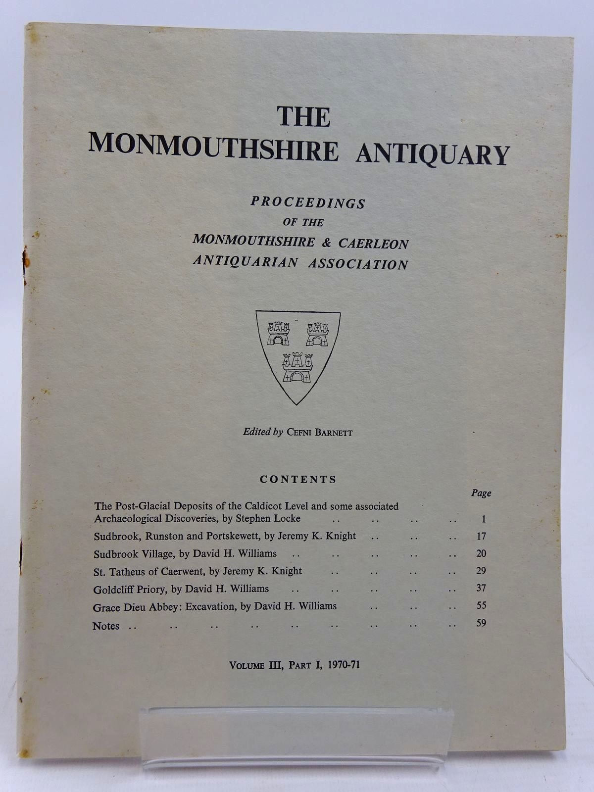 Photo of THE MONMOUTHSHIRE ANTIQUARY VOLUME III PART I written by Barnett, Cefni published by Monmouthshire & Caerleon Antiquarian Association (STOCK CODE: 2130966)  for sale by Stella & Rose's Books