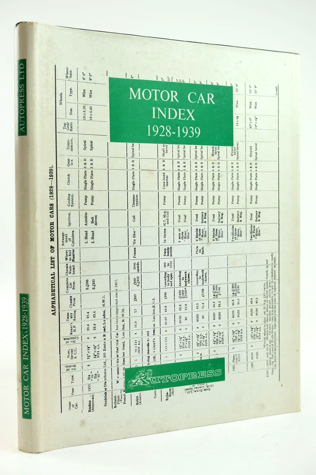 Photo of MOTOR CAR INDEX 1928 - 1939- Stock Number: 2132247