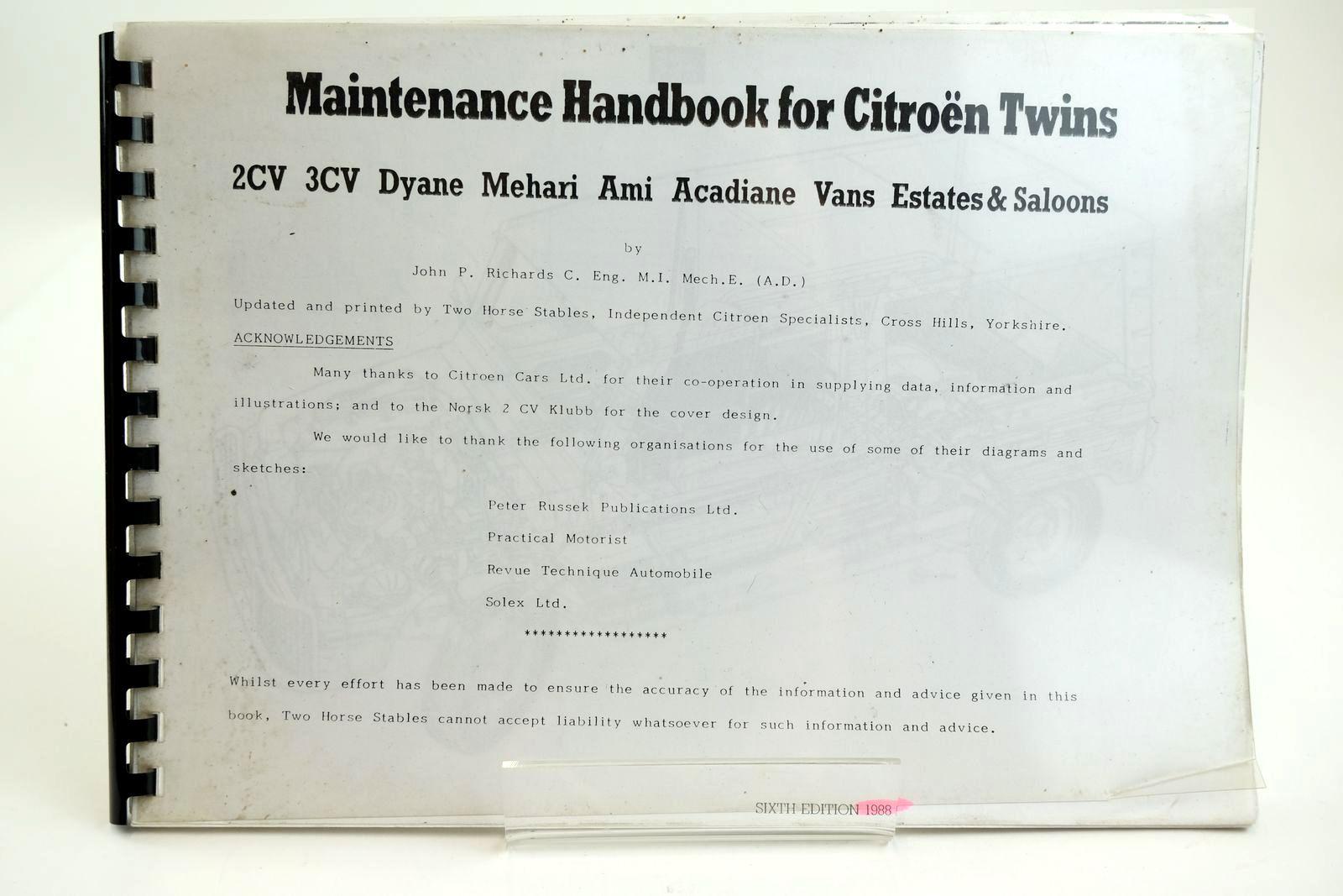 Photo of MAINTENANCE HANDBOOK FOR CITROEN TWINS 2CV 3CV DYANE MEHARI AMI ACADIANE VANS ESTATES & SALOONS- Stock Number: 2132265