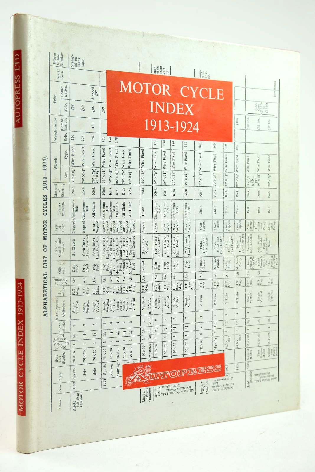 Photo of MOTOR CYCLE INDEX 1913 - 1924- Stock Number: 2132276