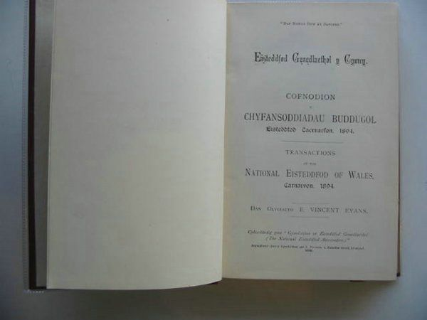 Photo of EISTEDDFOD TRANSACTIONS CARNARVON 1894- Stock Number: 559434