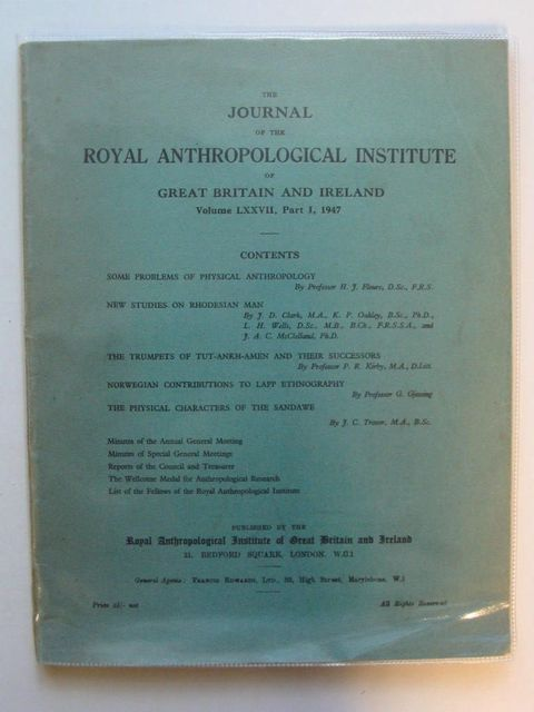 Photo of THE JOURNAL OF THE ROYAL ANTHROPOLOGICAL INSTITUTE VOLUME LXXVII PART I- Stock Number: 567404
