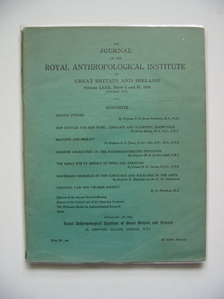 Photo of THE JOURNAL OF THE ROYAL ANTHROPOLOGICAL INSTITUTE VOLUME LXXX PARTS I AND II- Stock Number: 567405
