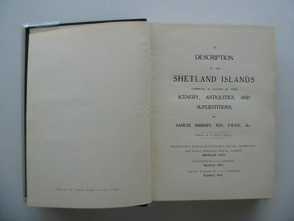 Photo of A DESCRIPTION OF THE SHETLAND ISLANDS written by Hibbert, Samuel published by T. & J. Manson (STOCK CODE: 572122)  for sale by Stella & Rose's Books