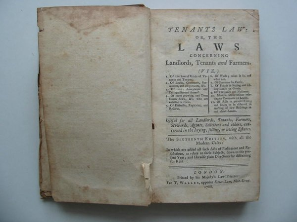 Photo of TENANTS LAW OR THE LAWS CONCERNING LANDLORDS, TENANTS AND FARMERS published by T. Waller (STOCK CODE: 594141)  for sale by Stella & Rose's Books