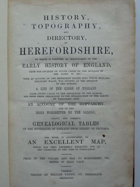 Photo of HISTORY, TOPOGRAPHY AND DIRECTORY OF HEREFORDSHIRE published by William Bailey (STOCK CODE: 597612)  for sale by Stella & Rose's Books