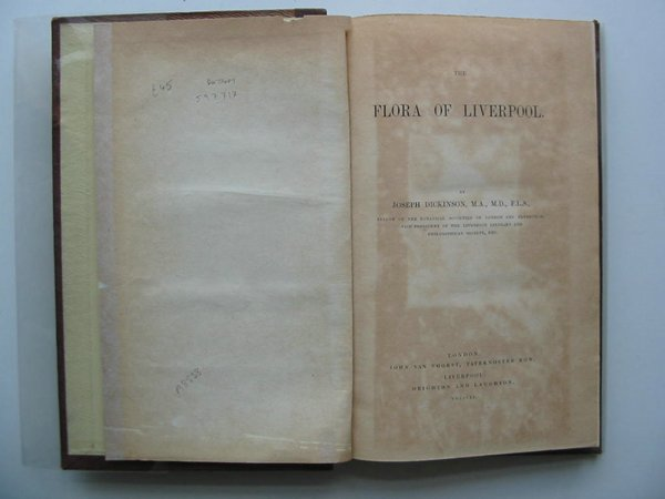 Photo of THE FLORA OF LIVERPOOL written by Dickinson, Joseph published by John Van Voorst (STOCK CODE: 597717)  for sale by Stella & Rose's Books
