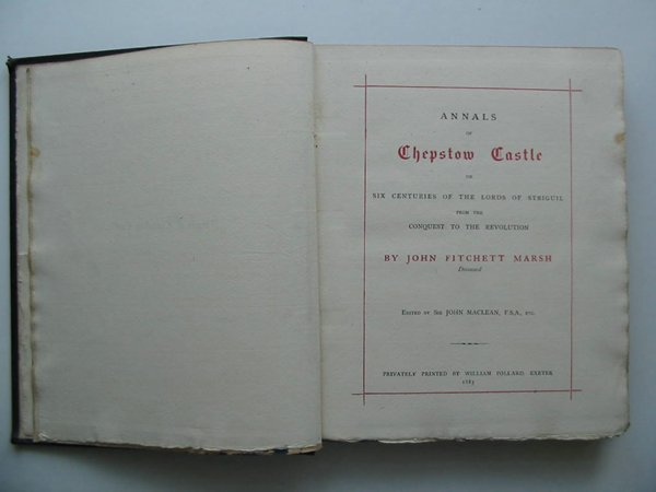 Photo of ANNALS OF CHEPSTOW CASTLE written by Marsh, John Fitchett<br />MacLean, John published by William Pollard (STOCK CODE: 598037)  for sale by Stella & Rose's Books