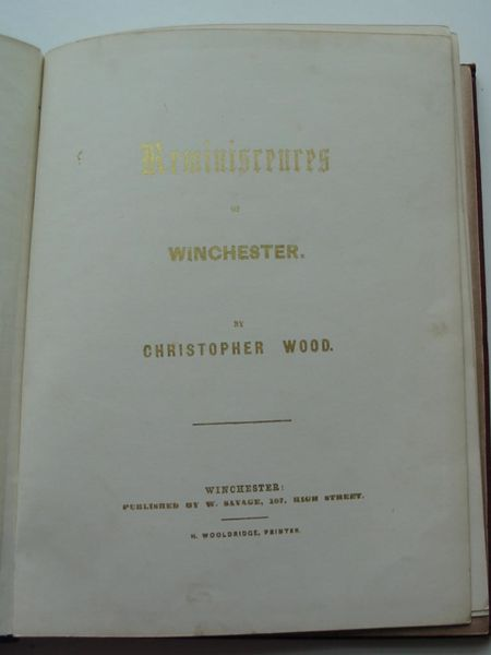 Photo of REMINISCENCES OF WINCHESTER written by Wood, Christopher published by W. Savage (STOCK CODE: 627420)  for sale by Stella & Rose's Books