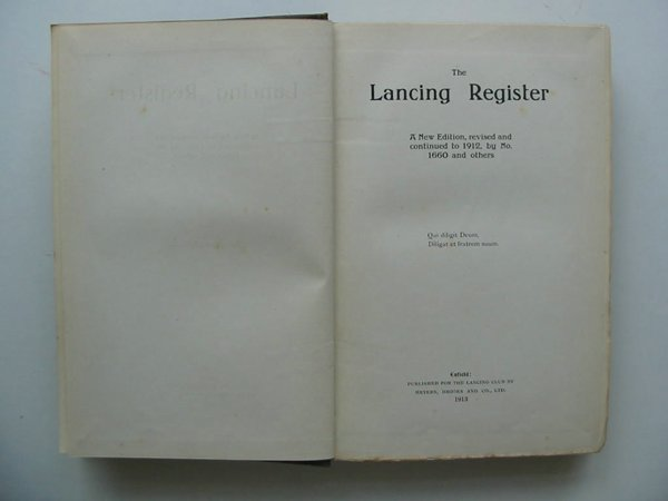 Photo of THE LANCING REGISTER 1848-1912- Stock Number: 627675