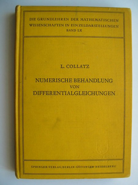 Photo of NUMERISCHE BEHANDLUNG VON DIFFERENTIALGLEICHUNGEN written by Collatz, Lothar published by Springer (STOCK CODE: 628893)  for sale by Stella & Rose's Books