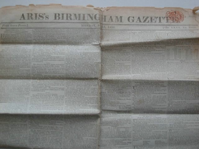 Photo of ARIS'S BIRMINGHAM GAZETTE VOL LXXV No.3895 (STOCK CODE: 630496)  for sale by Stella & Rose's Books