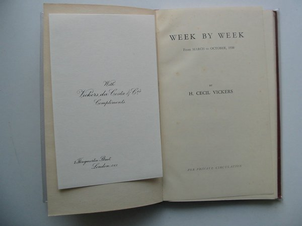 Photo of WEEK BY WEEK written by Vickers, H. Cecil (STOCK CODE: 674131)  for sale by Stella & Rose's Books